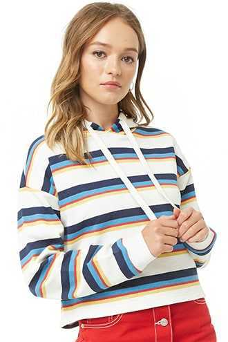 Forever 21 Striped French Terry Hoodie  White/navy - GOOFASH