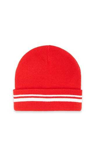 Forever 21 Striped Knit Beanie  Red/white - GOOFASH