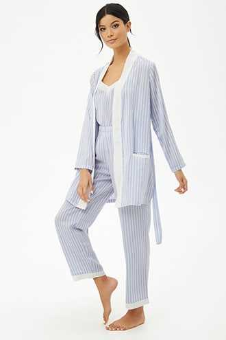 Forever 21 Striped Satin Belted Robe  Periwinkle/cream - GOOFASH