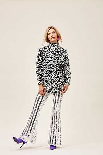 Forever 21 Striped Sequin Flare Pants  White/silver - GOOFASH