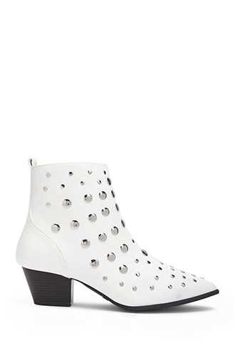 Forever 21 Studded Ankle Boots  White - GOOFASH