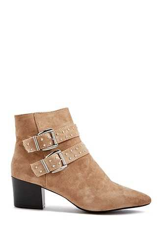 Forever 21 Studded Buckle-Strap Booties  Nude - GOOFASH
