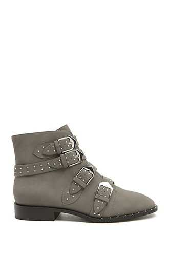 Forever 21 Studded Faux Leather Booties  Grey - GOOFASH