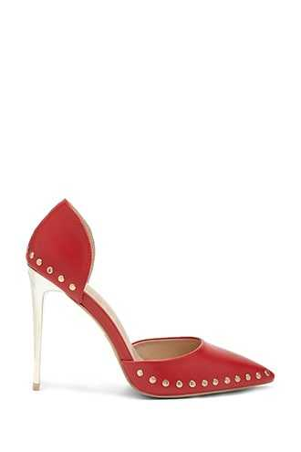 Forever 21 Studded Faux Leather Pumps  Red - GOOFASH