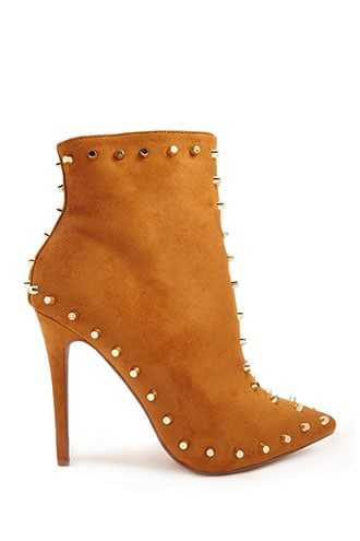 Forever 21 Studded Faux Suede Ankle Boots  Camel - GOOFASH