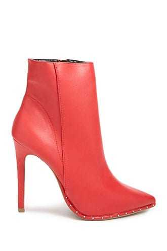 Forever 21 Studded Trim Booties  Red - GOOFASH