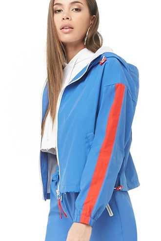 Forever 21 Toggle Zip-Up Hoodie  Blue/red - GOOFASH