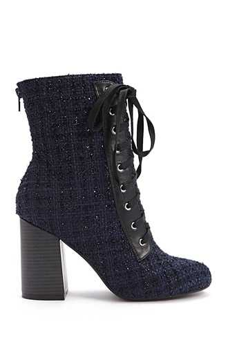 Forever 21 Tweed Ankle Boots  Navy - GOOFASH
