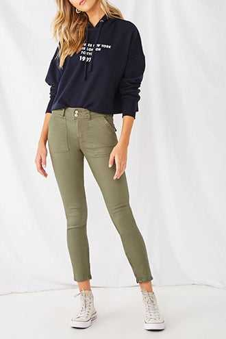 Forever 21 Twill Zip-Ankle Pants  Olive - GOOFASH