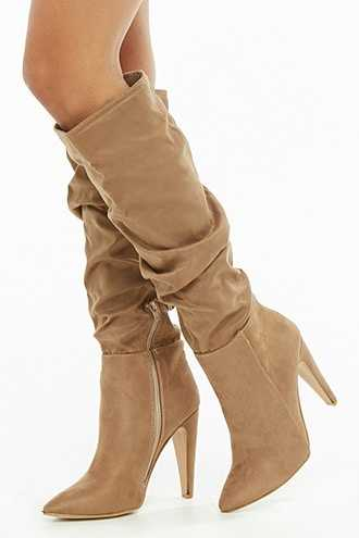 Forever 21 Yoki Slouchy Faux Suede Boots  Taupe - GOOFASH