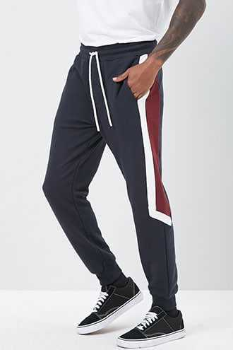 French Terry Colorblock Joggers at Forever 21  Navy/burgundy - GOOFASH