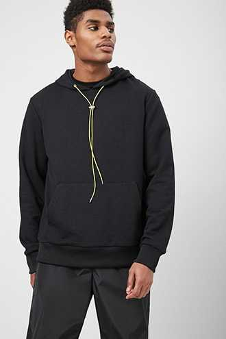 French Terry Hoodie at Forever 21  Black - GOOFASH