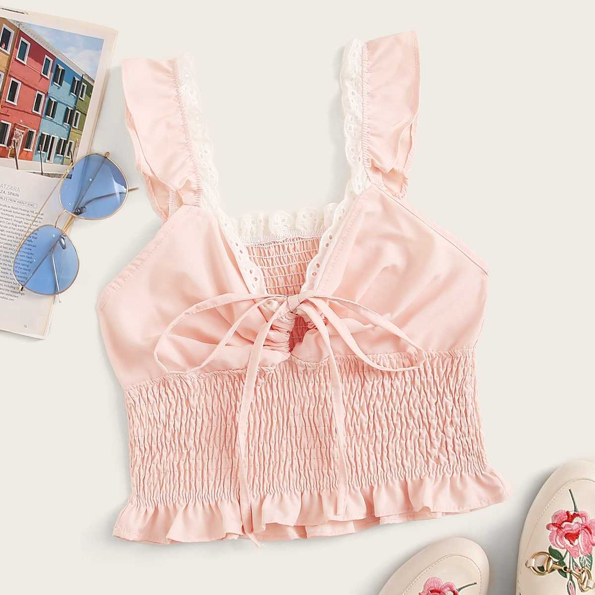 Frill Hem Shirred Cami Top in Pink by ROMWE on GOOFASH