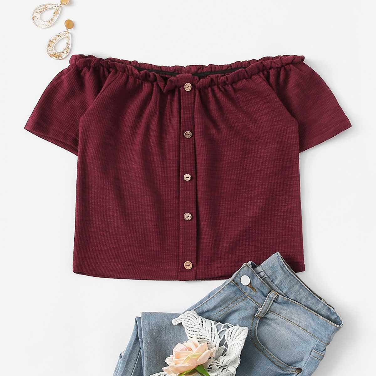 Frill Neck Button Through Tee in Burgundy by ROMWE on GOOFASH