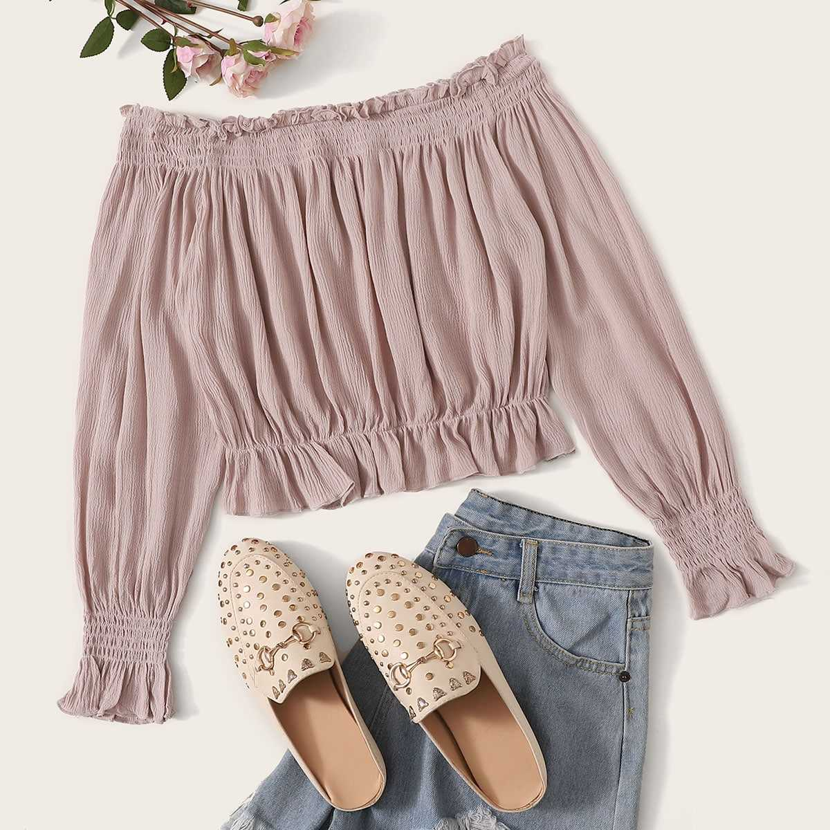 Frill Shirred Off Shoulder Blouse in Pink by ROMWE on GOOFASH