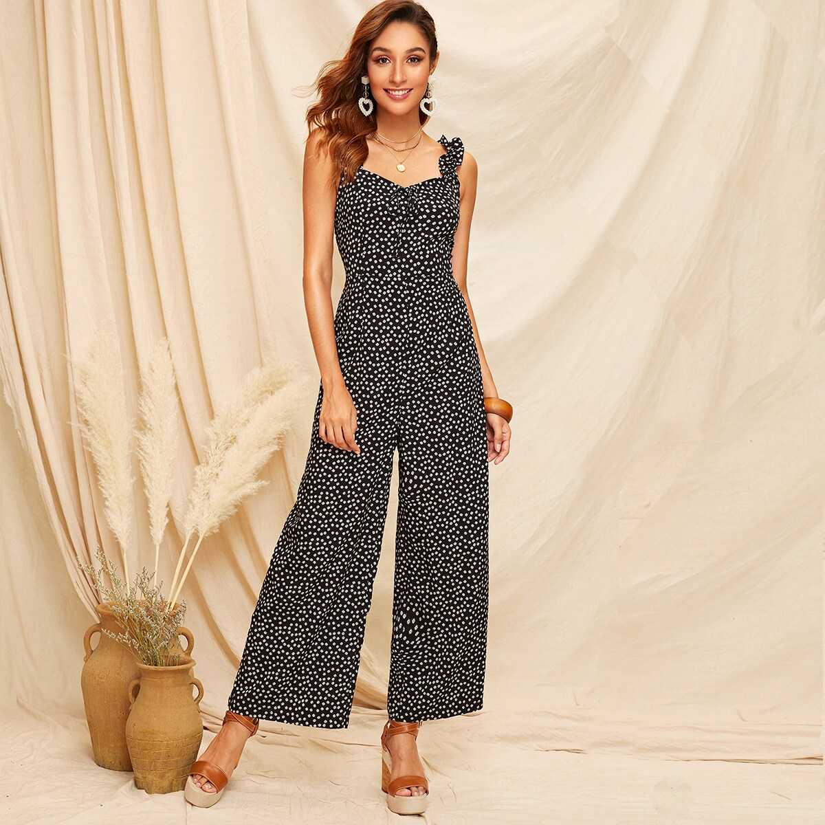 Frill Straps Knot Front Ditsy Floral Wide Leg Jumpsuit - Shein - GOOFASH