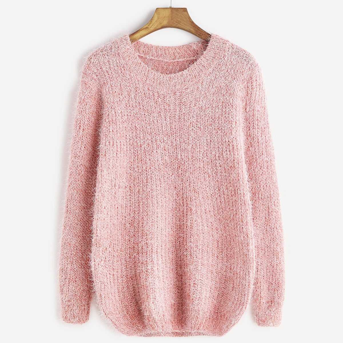 Fuzzy Chunky Knit Sweater in Pink by ROMWE on GOOFASH