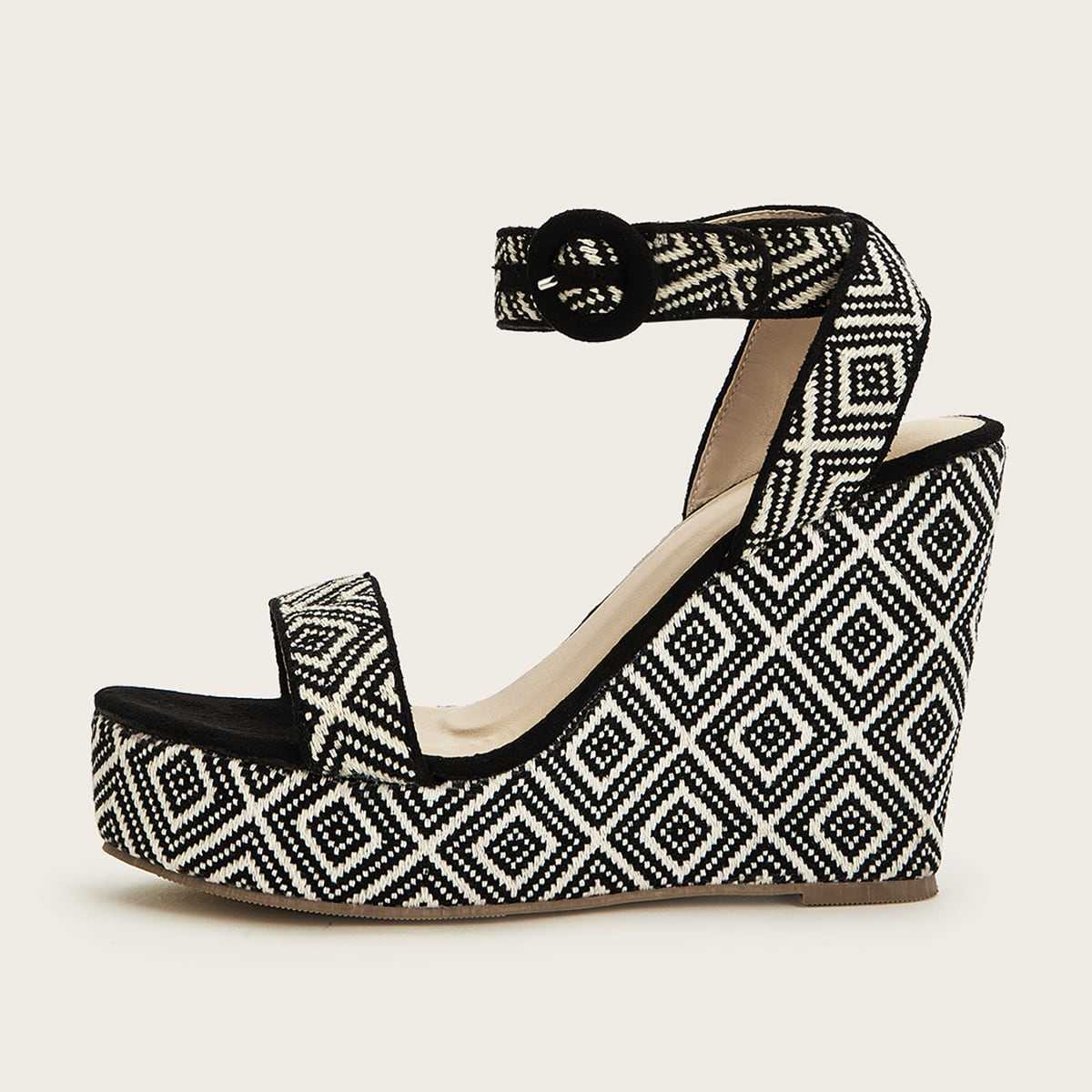 Geometric Knit Ankle Strap Wedges in Black and White by ROMWE on GOOFASH