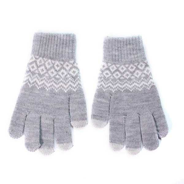 Geometric Touch Screen Knit Gloves in Grey by ROMWE on GOOFASH