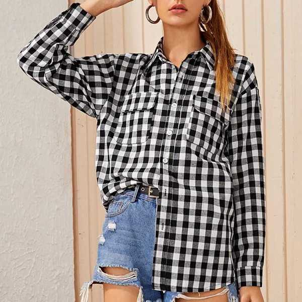 Gingham Flap Pocket Front Blouse in Black and White by ROMWE on GOOFASH