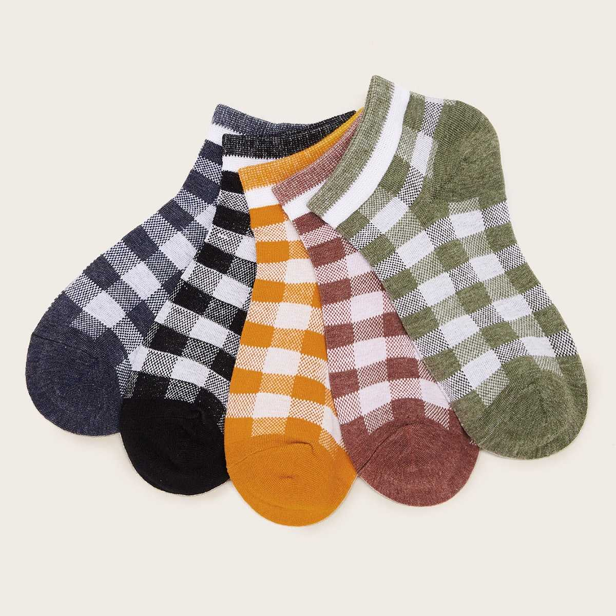 Gingham Pattern Socks 5pairs in Multicolor by ROMWE on GOOFASH