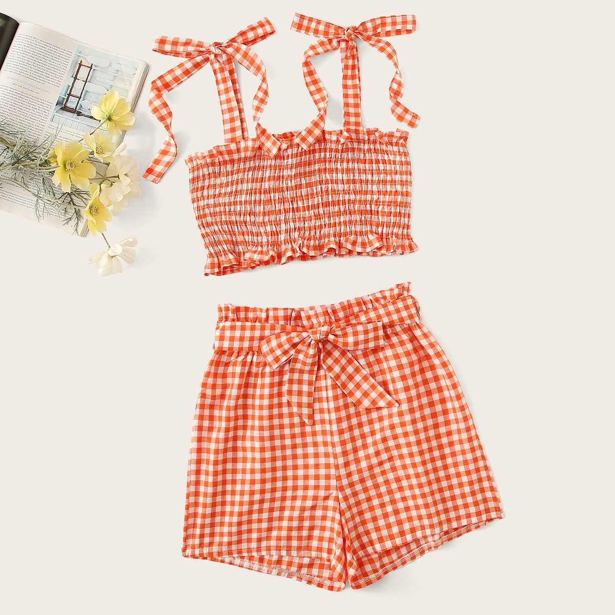 Gingham Shirred Cami Top With Belted Shorts in Orange by ROMWE on GOOFASH