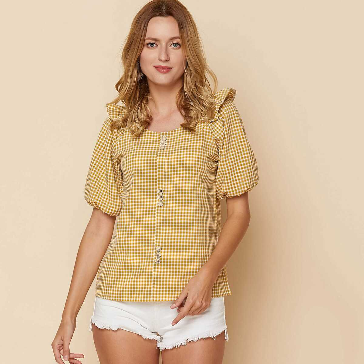 Gingham print Bishop Sleeve Button Trim Blouse - Shein - GOOFASH