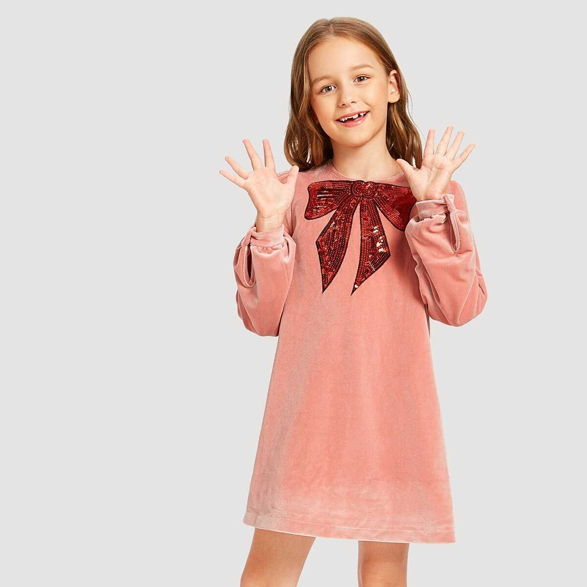 Girls Bow With Sequin Tunic Dress - Shein - GOOFASH