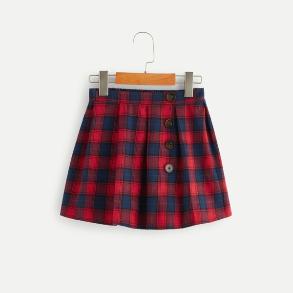 Girls Button Front Box Pleated Plaid Skirt - Shein - GOOFASH