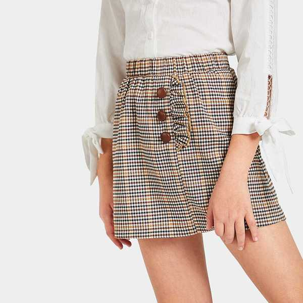 Girls Elastic Waist Ruffle Button Plaid Skirt - Shein - GOOFASH