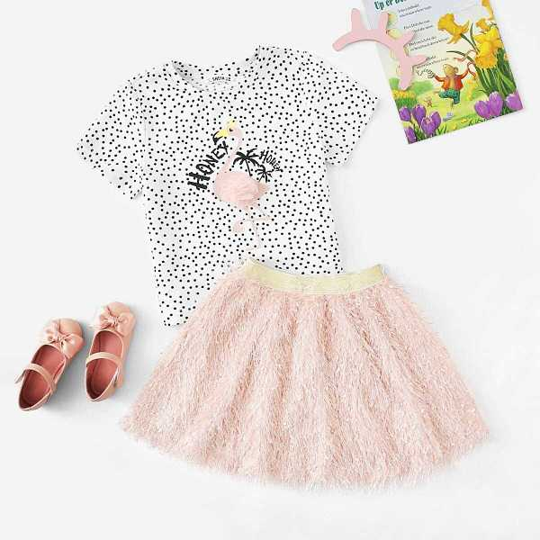 Girls Lace Applique Polka-dot Tee & Fuzzy Skirt Set - Shein - GOOFASH