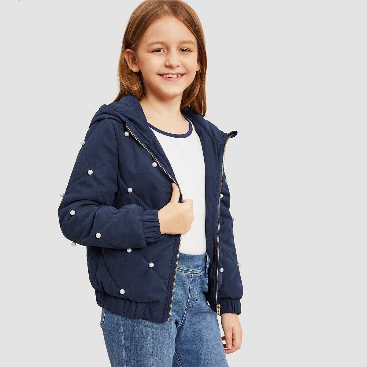 Girls Pearl Beading Quilted Hooded Jacket - Shein - GOOFASH