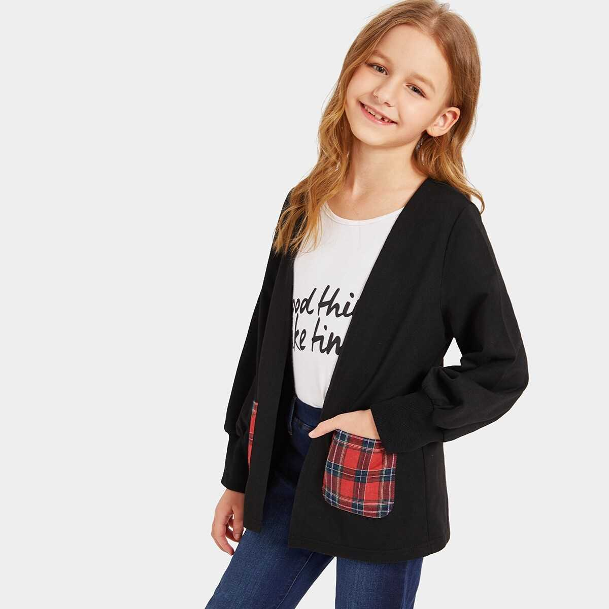 Girls Plaid Pocket Patched Open Front Coat - Shein - GOOFASH