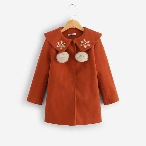Girls Pom Pom and Embroidered Detail Coat - Shein - GOOFASH