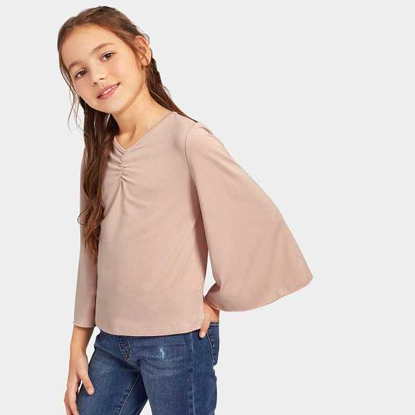 Girls Solid Ruched Front Bell Sleeve Top - Shein - GOOFASH