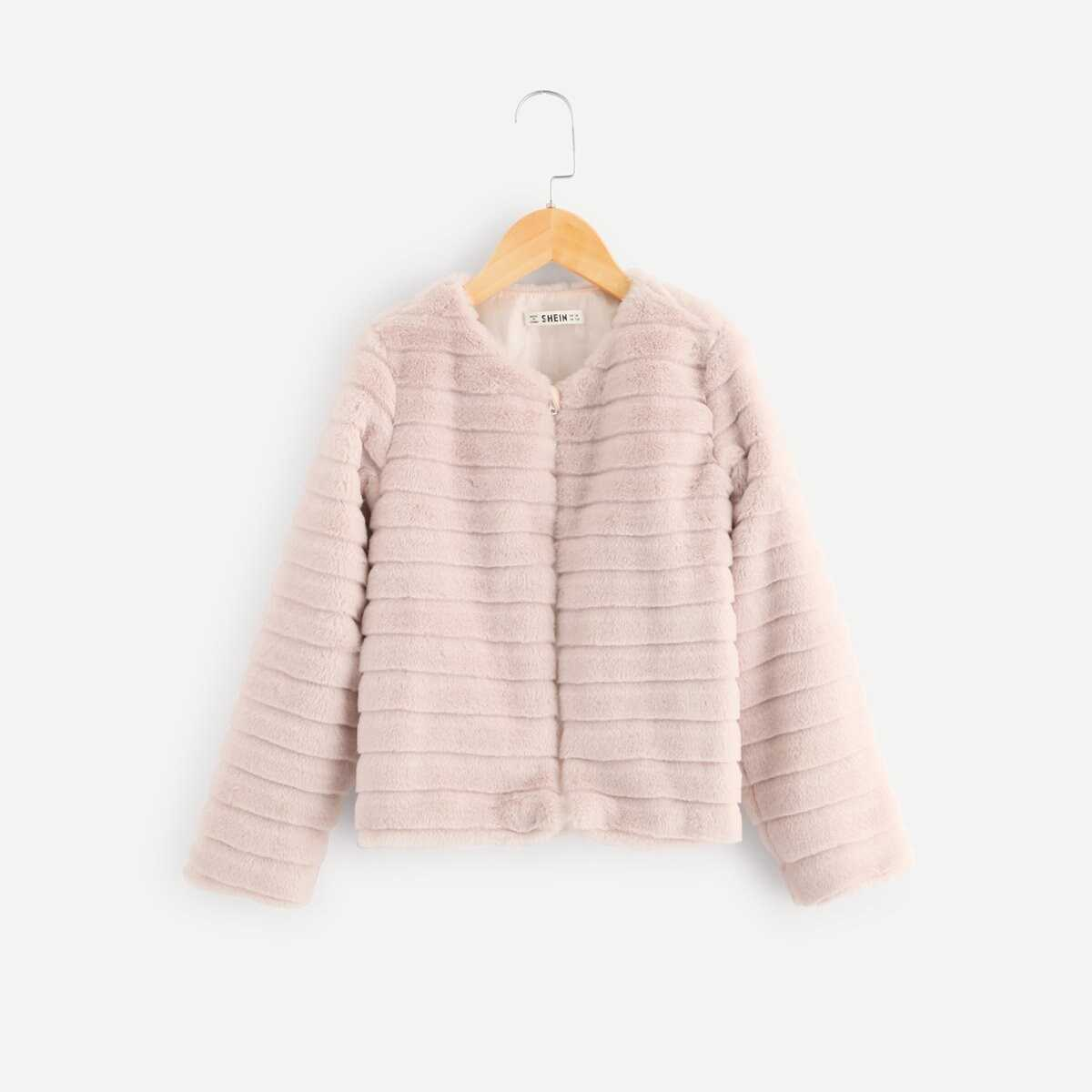 Girls Zip Up Fleece Teddy Coat - Shein - GOOFASH