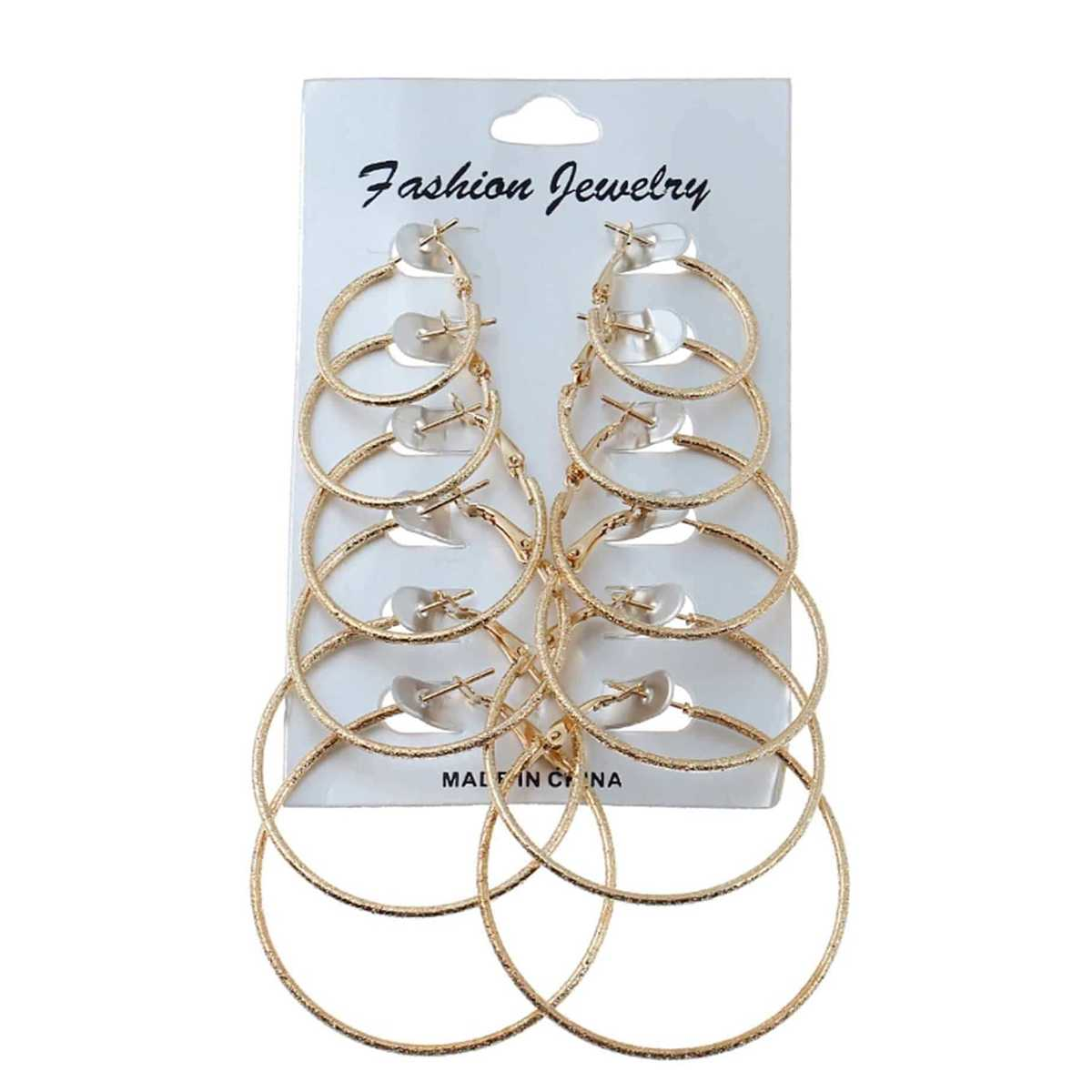Gold Plated Mixed Sized Hoop Earring Set 6pairs in Gold by ROMWE on GOOFASH
