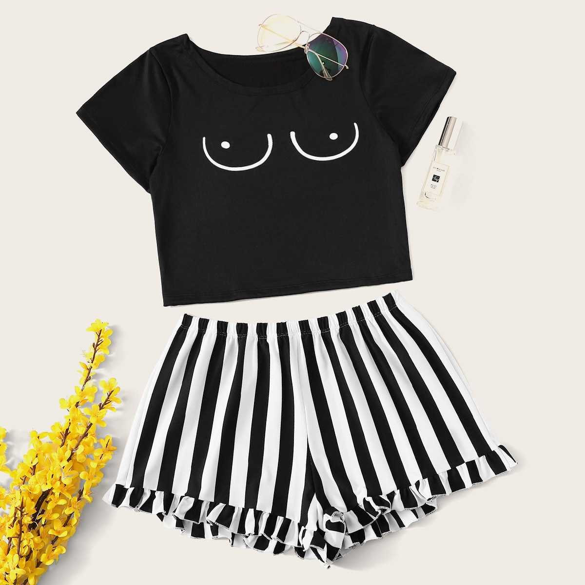 Graphic Print Top With Striped Shorts PJ Set in Black and White by ROMWE on GOOFASH