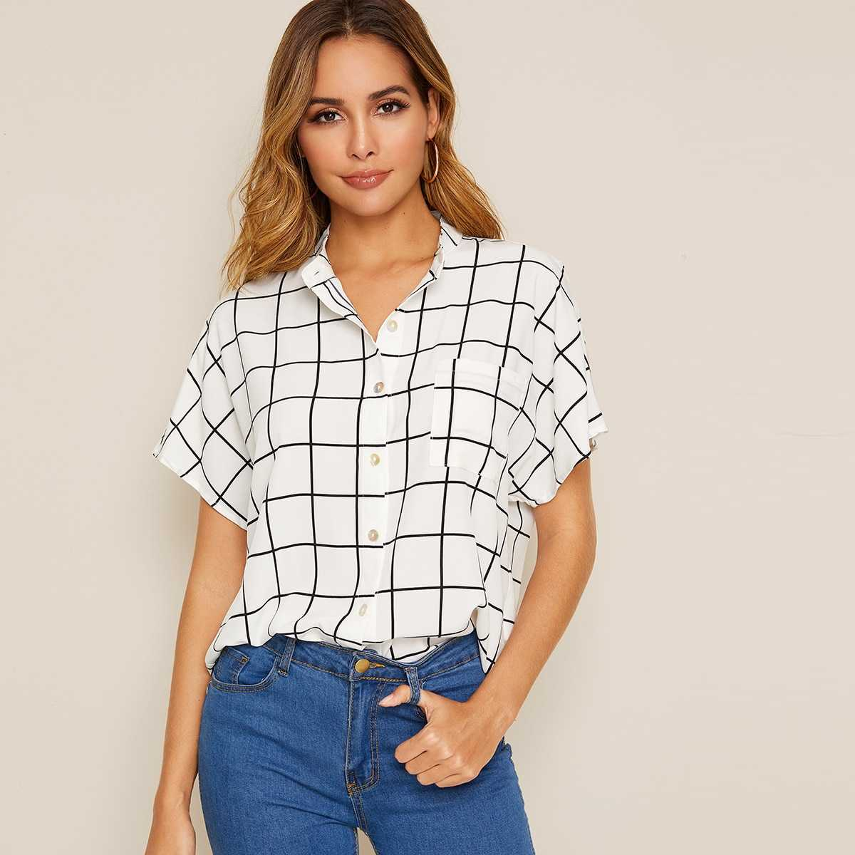 Grid Print Batwing Sleeve Shirt in White by ROMWE on GOOFASH