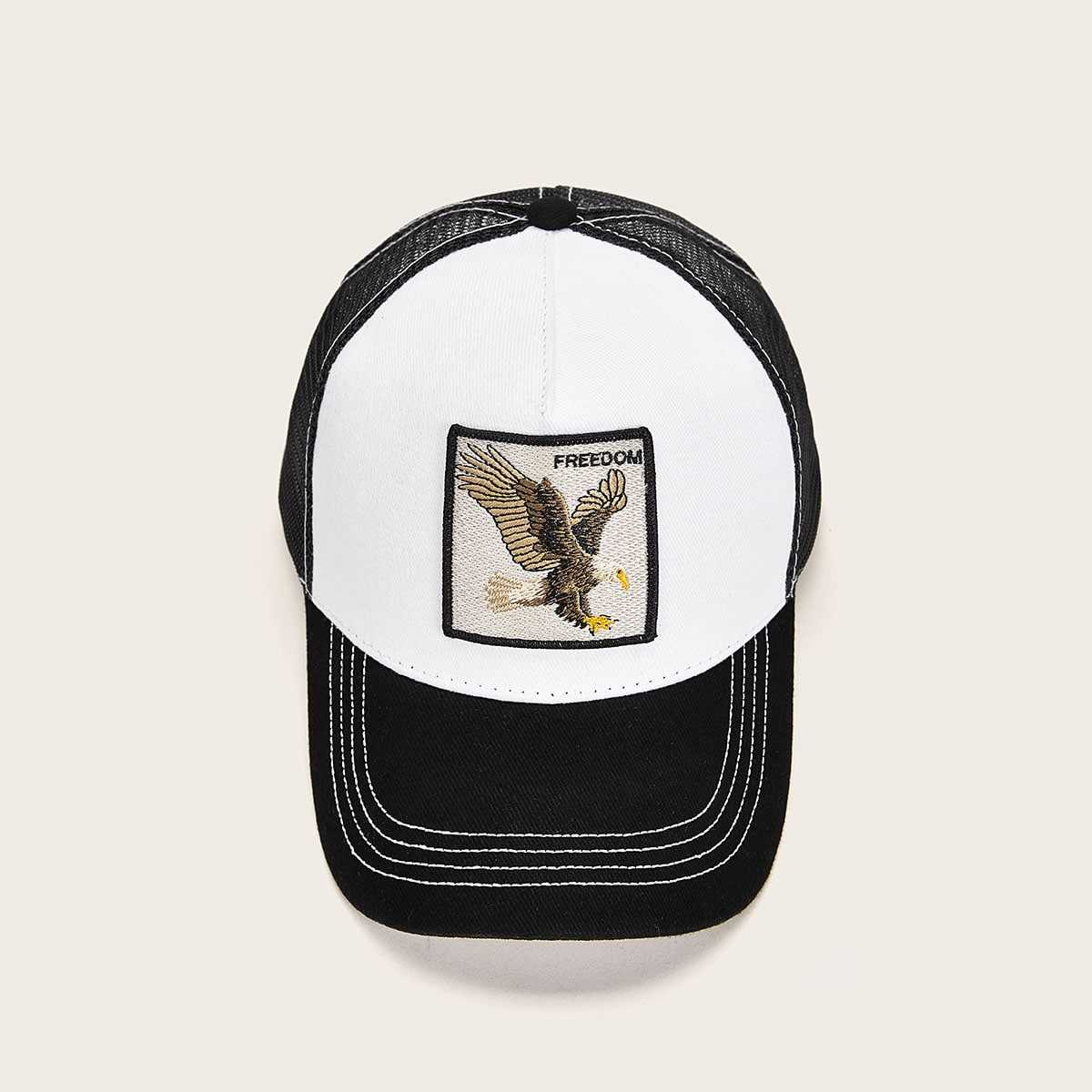 Guys Bird Embroidery Mesh Baseball Cap in Multicolor by ROMWE on GOOFASH