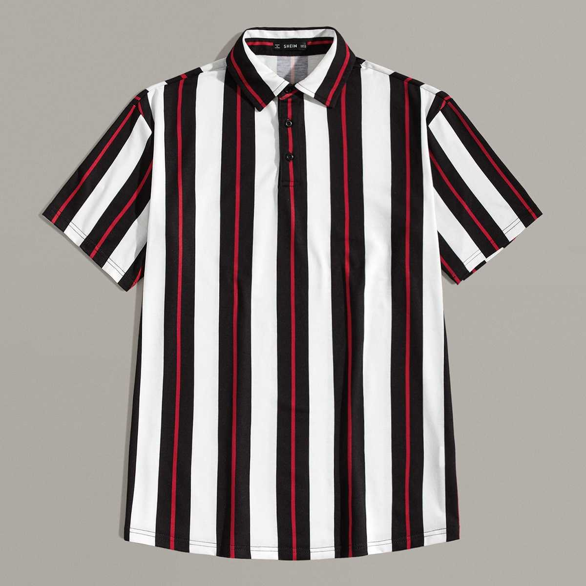 Guys Button Front Striped Polo Shirts in Multicolor by ROMWE on GOOFASH
