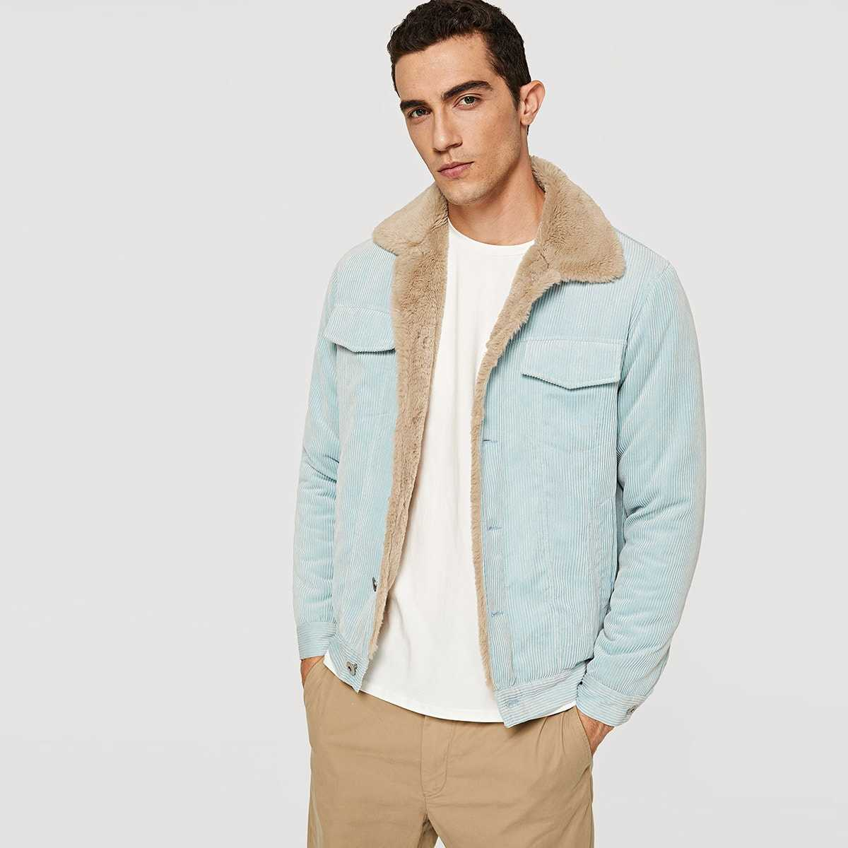 Guys Button Up Pocket Coat in Blue by ROMWE on GOOFASH