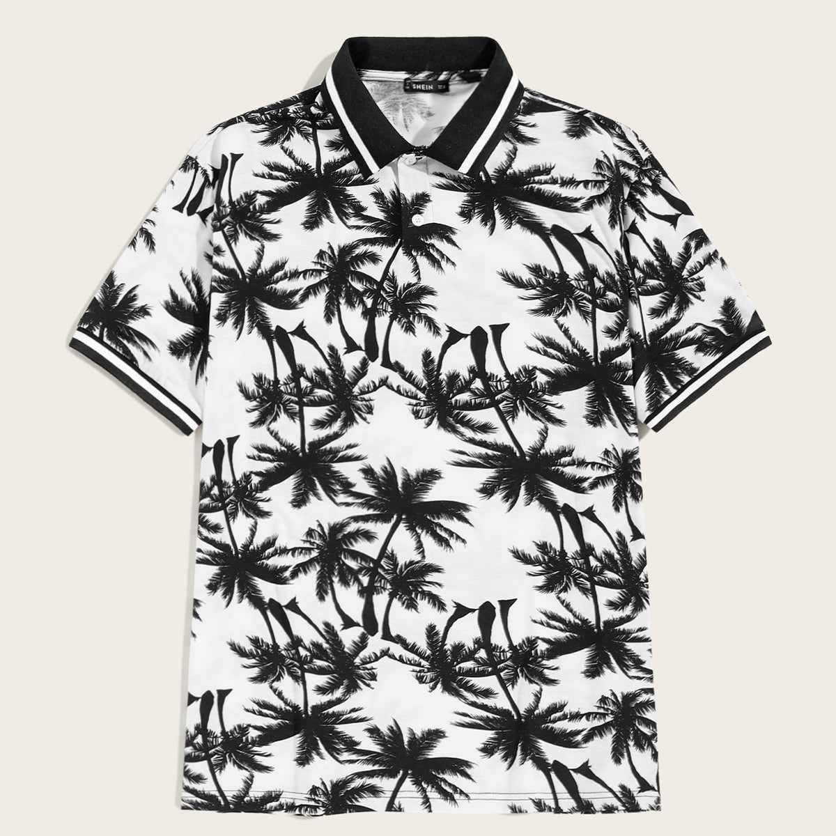 Guys Coconut Tree Print Half Placket Polo Shirt in Black and White by ROMWE on GOOFASH