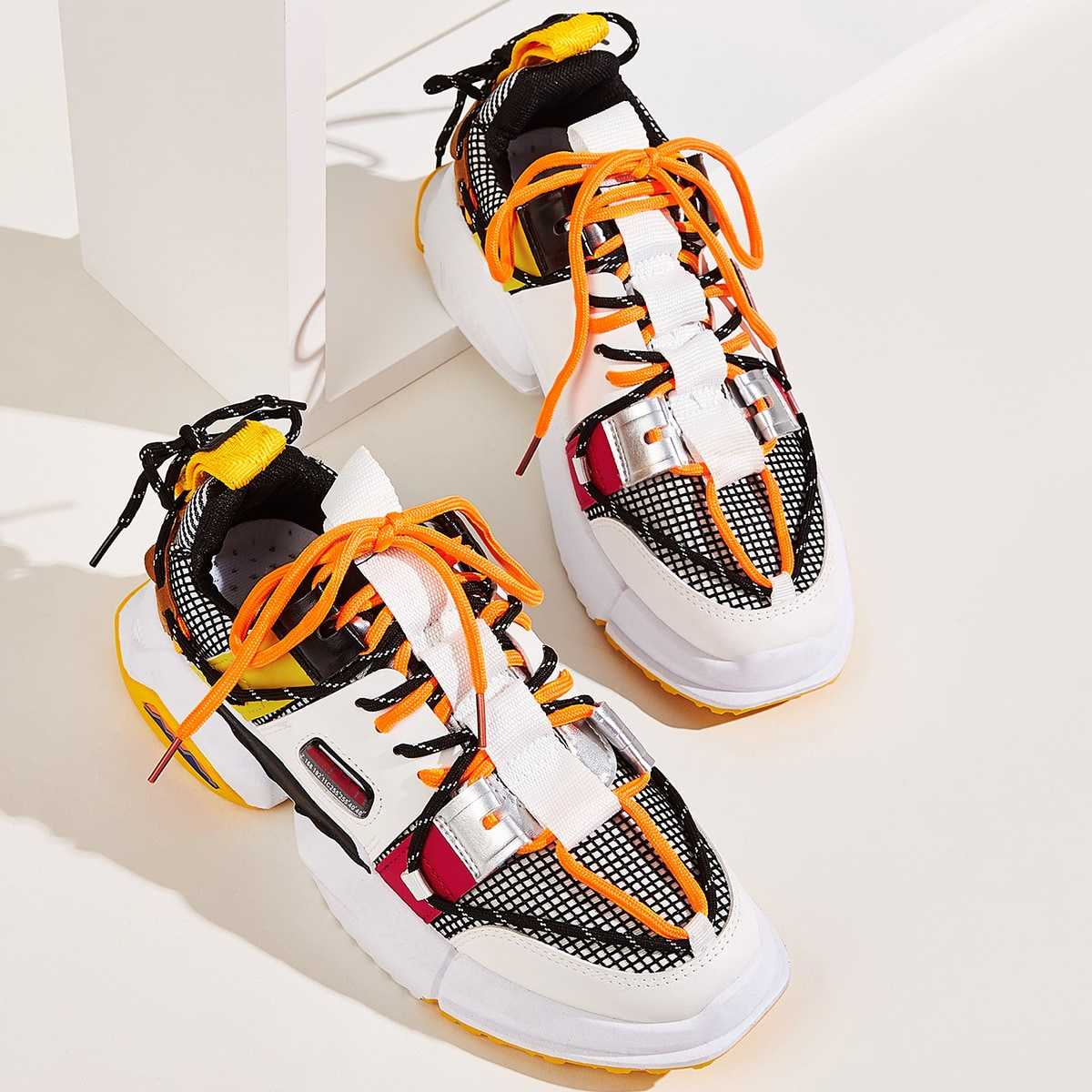Guys Color Block Chunky Sole Trainers in Multicolor by ROMWE on GOOFASH