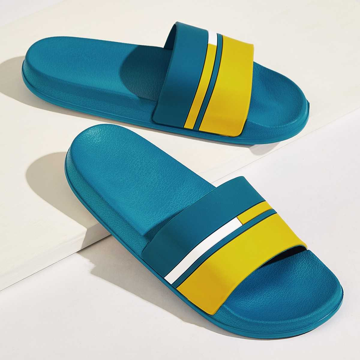 Guys Color Block Open Toe Sliders in Multicolor by ROMWE on GOOFASH