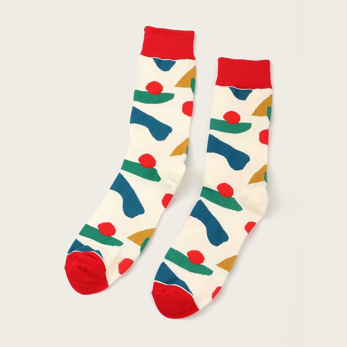 Guys Color Block Socks 1pair in Multicolor by ROMWE on GOOFASH