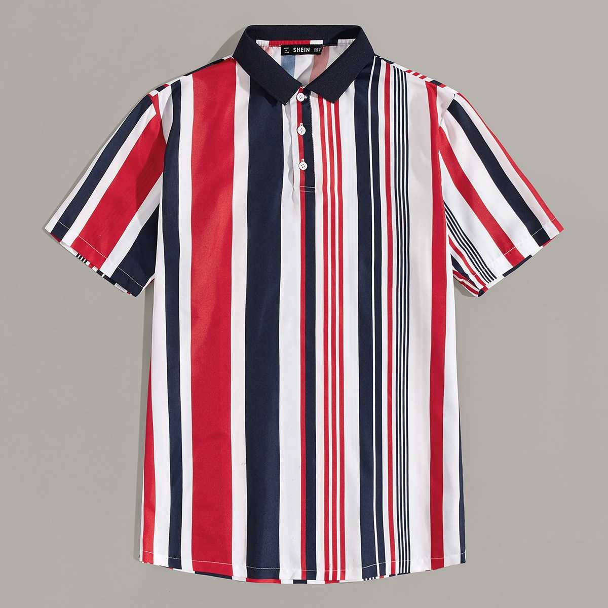 Guys Colorful Striped Polo Shirt in Multicolor by ROMWE on GOOFASH