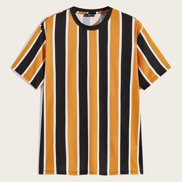 Guys Colorful Striped Tee in Multicolor by ROMWE on GOOFASH