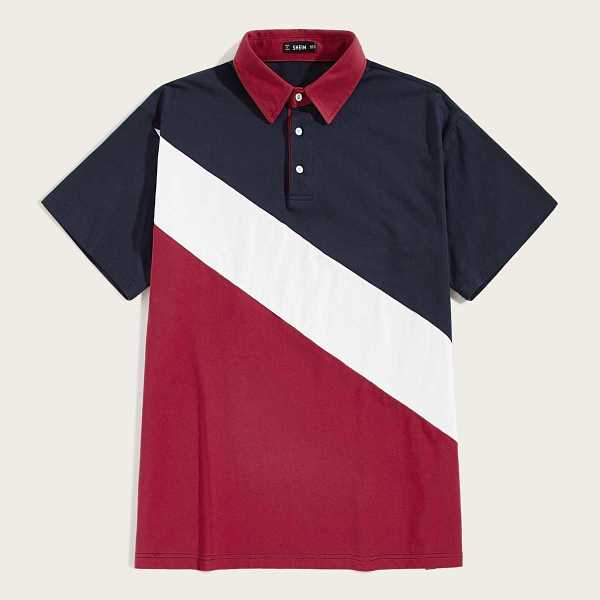 Guys Contrast Collar Colorblock Polo Shirt in Multicolor by ROMWE on GOOFASH