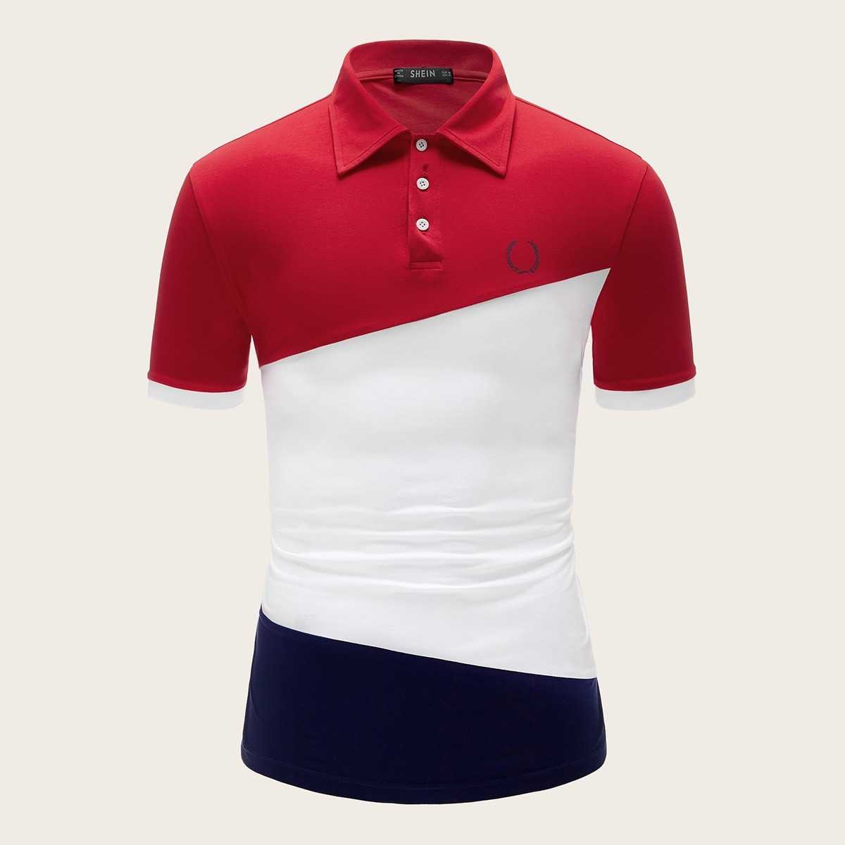 Guys Contrast Cuff Colorblock Polo Shirt in Multicolor by ROMWE on GOOFASH